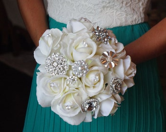 Silk Brooch Wedding Bouquet - Natural Touch Roses and Brooch Jewel Bride Bouquet - Rhinestones