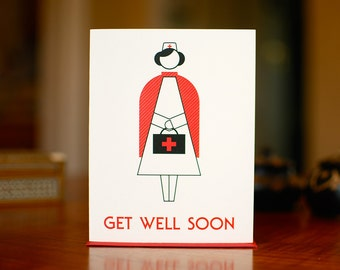 Nurse with a Purse - Pictogram Style Get Well Card on 100% Recycled Paper