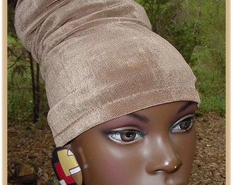 Headband-Tube-Dreadlocks-Khaki-Taupe-Locs-Natural Hair- Head Wrap - Headwrap - Virtuous Creations