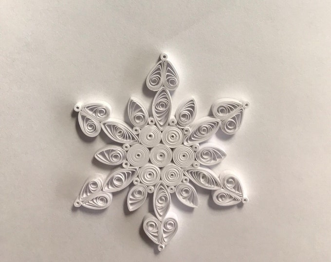 Miniature White as Snow, Holiday Quilled Snowflake Ornament
