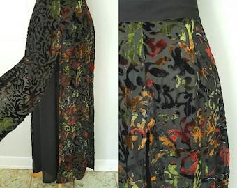 90s Black Velvet Burnout Wide Leg Paneled Pants by Mesmerize  | Labeled Size Medium