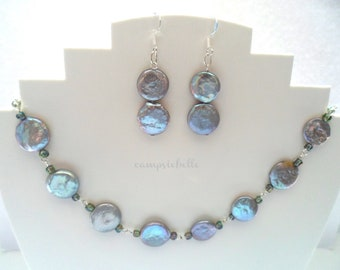 Silver Grey Freshwater Coin Pearl Jewellery Set-  Freshwater Coin Pearl Necklace & Earrings Set- Handmade in UK- Sterling Silver Chain