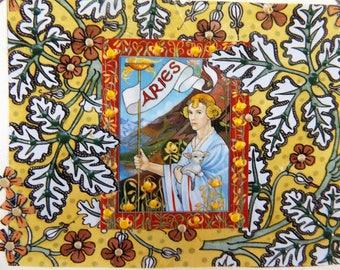 Fine Art Greeting Card: OOAK Zodiac Montage 'Aries'