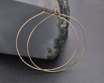 "Gold Skinny Hoop, Large Gold Hoop Earrings Gold, Gold Hammered Hoop, Thin Gold Delicate Hoop, 2 1/4"" & 2 1/2"""