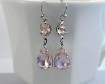 Pretty Blush Earrings,Pink Earrings,Pink Rhinestone,Vintage Earrings,Earrings,Silver Earrings,Pink Earrings,Blush Earrings,Valleygirldesigns