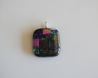 Fused Dichroic Glass Pendant Necklace  In Magenta,Blue And Green