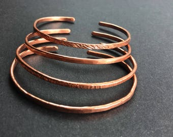 Hammered Recycled Copper Cuff Set