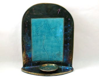 BASTET BAST Egyptian Shrine Altar Raku Pottery