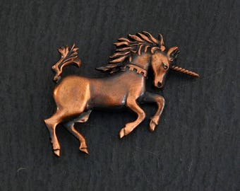 Unicorn, handmade brooch, copper oxidised finish