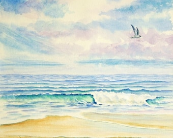 Ocean Beach Original Watercolor Painting, Large Painting,  matted to 18 x 24, blue,  green, violet, beige,