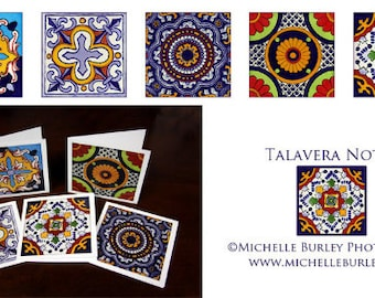 Set of 5 Talavera Inspired Blank Notecards (5x5) with Envelopes
