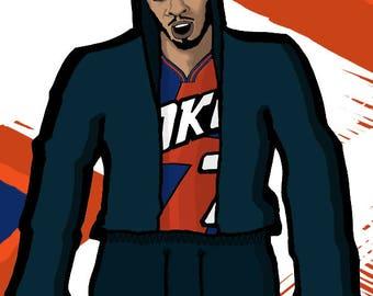 Carmelo Anthony, OKC, Oklahoma Thunder NBA, basketball, illustration, drawing