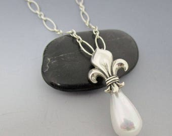 Ivory Shell Pearl Sterling Silver Necklace / Fleur De Lis Necklace / Pearl Drop Necklace / Bridal Necklace / Bride Necklace