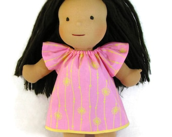 Waldorf Doll Clothes, pink and yellow dress for 14, 15, 16 in dolls, Waldorf doll dress