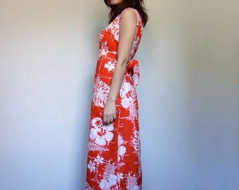 Orange Sundress Vintage Hawaiian Dress Sleeveless Summer Maxi Tropical Print Dress Long Floral Print Dress - Medium to Large M L
