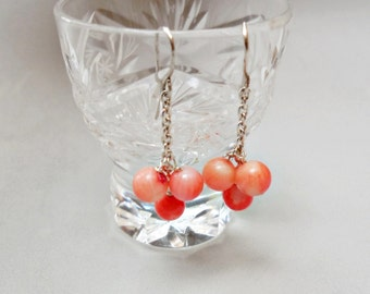 Pink Coral and 925 sterling Silver earrings