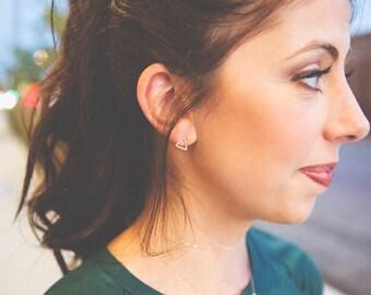 Gold Stud Earrings - Minimalist Open Triangle Earrings