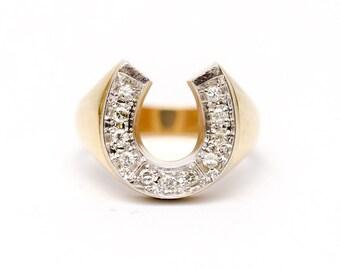 Lucky 14k Gold and Diamond Horseshoe Ring size 8.5