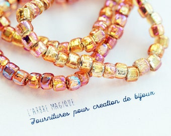 6 beads reflect shades of Orange size 6 x 4 mm AB