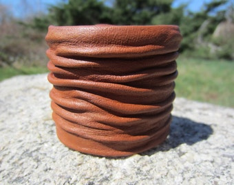Wide Leather Cuff Bracelet,  Mens /  Womens Leather Wrist Wrap WristBand Handcrafted wrinkled Crushed Leather