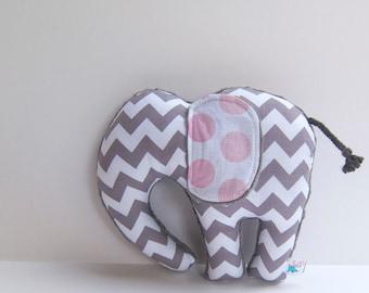 Elephant Softie Plush Stuffed Animal Minky Baby Toy Gray Chevron Pink