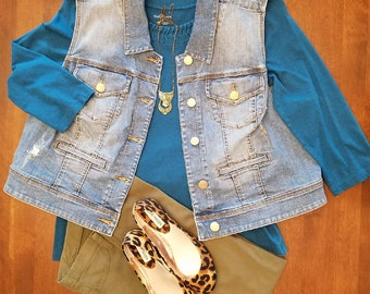 Tea Dyed Distressed Denim Vest, Upcycled, Refashioned, Plus Size 20