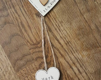Handmade personalised anniversary gift, keepsake, wall hanger perfect for a special couple