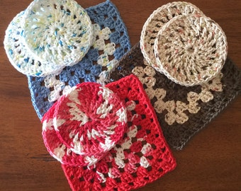 3 pc set, Granny Square Trivet, Round Coasters, 100% Cotton, Handmade, Crochet, Made in CA