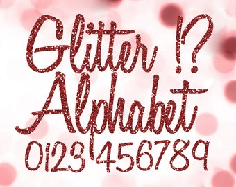 Red Glitter Alphabet Clipart: Digital Glitter Alphabet Clip Art, Red Glitter Letters, Large Glitter Letters, Ruby Digital Alphabet Letters