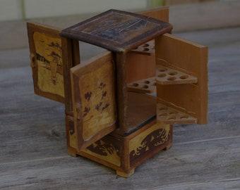 Antique Japanese Cigarette Box, Wood Inlay, Tobacciana, Asian Cigarette Box