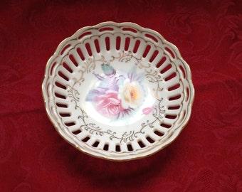 Hand Painted Ornate Porcelain Dish With Cutouts, Gold Trim, Rose Pattern , Bonbon Dish, Nut Dish, Candy Dish, Trinket Dish, Lattice Cutouts