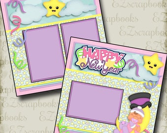 New Year Baby Girl - 2 Premade Scrapbook Pages - EZ Layout 2733
