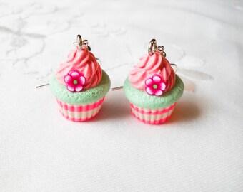 Flower Cupcake Earrings, Cute Earrings, Cupcake, Fairy Kei, Sweet Lolita, Polymer Clay, Charm Earrings, Food Earrings, Pink, Flower, Kawaii