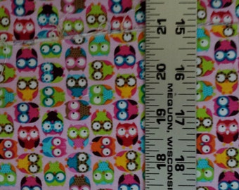 Tiny Colorful Owls on Pink Timeless Treasures Quilters Cotton 1 Yard BTY