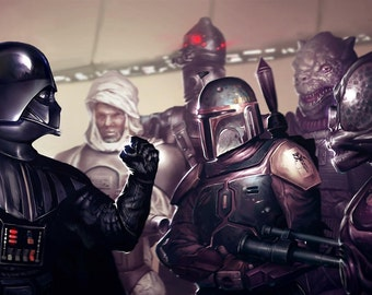 Star Wars Darth Vader Boba Fett Poster (a) - Choose your size - A4/A3/A2