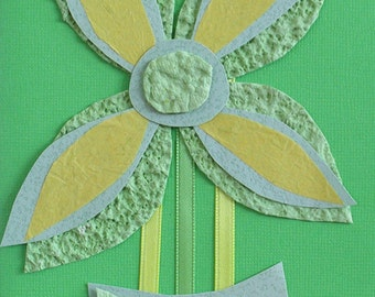 Original Handmade Green, Yellow, Butterfly Art card
