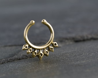 Fake Septum Ring For Non Pierced Nose. Tiny fake septum jewelry. Indian Septum Ring. Tribal Septum Ring