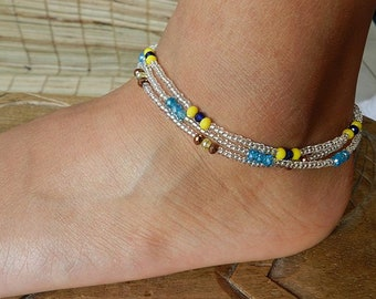 Set 3 yellow string blue ankle bracelet anklet beaded boho_ chain anklet gift bracelet women and men unisex - one size