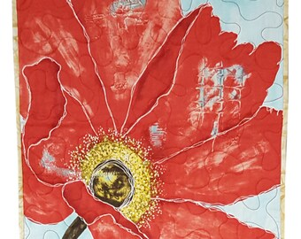 Fabric Wall Hanging Quilt Red Cosmos Flower Abstract Art
