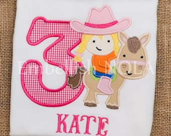 Cowgirl Applique Birthday Shirt, Cowgirl Theme Rodeo Theme