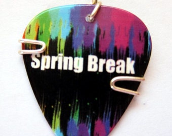 Guitar Pick Pendant - Clearwater Beach - florida - Spring break- guitar pick jewelry necklace or keychain