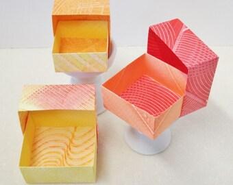 Origami Masu Paste Paper Nesting Boxes-Red w/Orange, Red, Orange, & Yellow