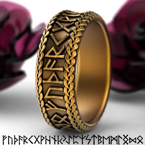 Gold Nordic Rune Ring, Viking Rune Wedding Band, Magical Jewelry, Rune Jewlery, Norse Ring, Made in 10K 14K 18K Gold Palladium Platinum 5102