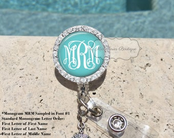 Bling Retractable Badge Holder,Personalized Badge Reel,Badge Reel,Monogram Badge Reel, Badge Holder,Nurse, Classic Aqua Turquoise, MB361