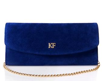 Leather Clutch, Leather Clutch Bag Purse, Blue Leather Clutch KF-271
