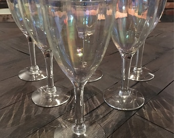 Vintage Iridescent Wine Glasses Optic Opalescent Set of 7 Paneled Stemware
