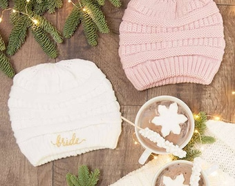 Bride and Bridesmaid Slouchy Knit Beanies | Bachelorette Party Beanies
