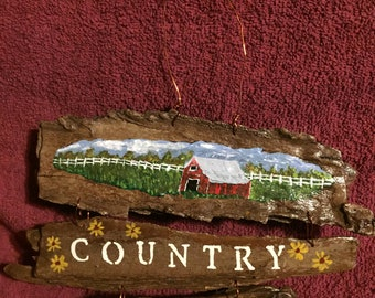 hand painted wall sign country life barn white picket fence