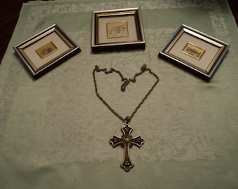 Large Bronzetone Cross and Chain