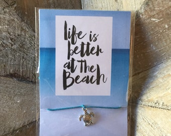 Life Is Better At The Beach - Turtle Adjustable Cord Friendship Bracelet